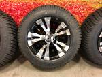 Set of 4 NEW Aluminum and Black Custom Golf Cart Wheels and Tires