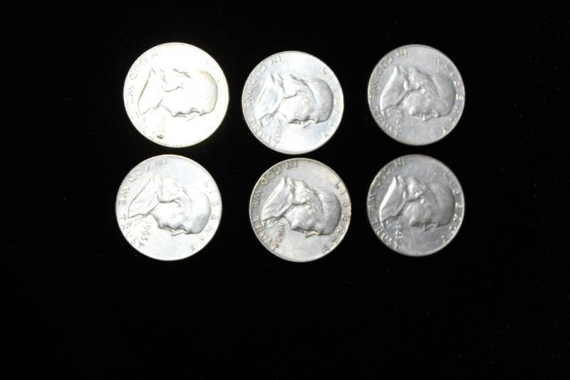 Lot Of 6 1963 Franklin Half Dollar Silver Coins Maple Plain Gold