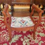 Antique Unusual 1920's Mahogany U Shaped Chair SADDLE Bench With Upholstered Tapestry Seat - Wood Is Excellent - Cushion Underneath is drooping a little.