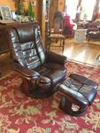 Gorgeous Belnicks Deep Brown Leather Swivel Recline Chair & Mahogany Wood Base With Matching Ottoman - Excellent Condition!