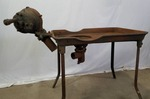 Antique Cast Iron Black Smith Forge Table with Fan Attachment