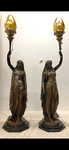 PAIR of Stunning Important 19th Century Patinated Bronze Figural Torcheres by Emile Guillemin - 'Deux Femmes, Indienne et Persane'