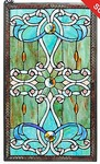 "Tiffany-Style 26"" Brandi Stained Glass Window Panel w/ 28"" Hanging Chain,Retail $99.99"