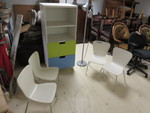 KIDS SHELF WITH DRAWERS, 4 KIDS CHAIRS & A LAMP