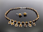 .925 Sterling Silver Tigers Eye Necklace and Earring Set