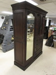 LARGE ANTIQUE FOUR PIECE SOLID WOOD ARMOIRE