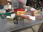 VINTAGE SHOTGUN AND RIFLE AMMUNITION BOXES WITH CONTENTS + NEW HOLIDAY FISHING LINE