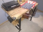 Vintage Industrial Steel Work Bench w/ Oak Wood Plank Table Top (Black)