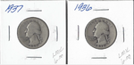 Two Silver Quarters - 1936 & 1937