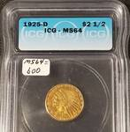 1925-D US $2.50 GOLD INDIAN MS64 ICG CERTIFIED