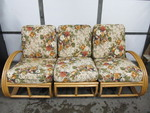 Mid Century PAUL FRANKL Style Rattan 3-Piece Sectional Sofa