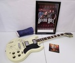 Autographed Jay Turser guitar & band picture with a cast and Blood Stained Revolution CD from Saving Able low reserve