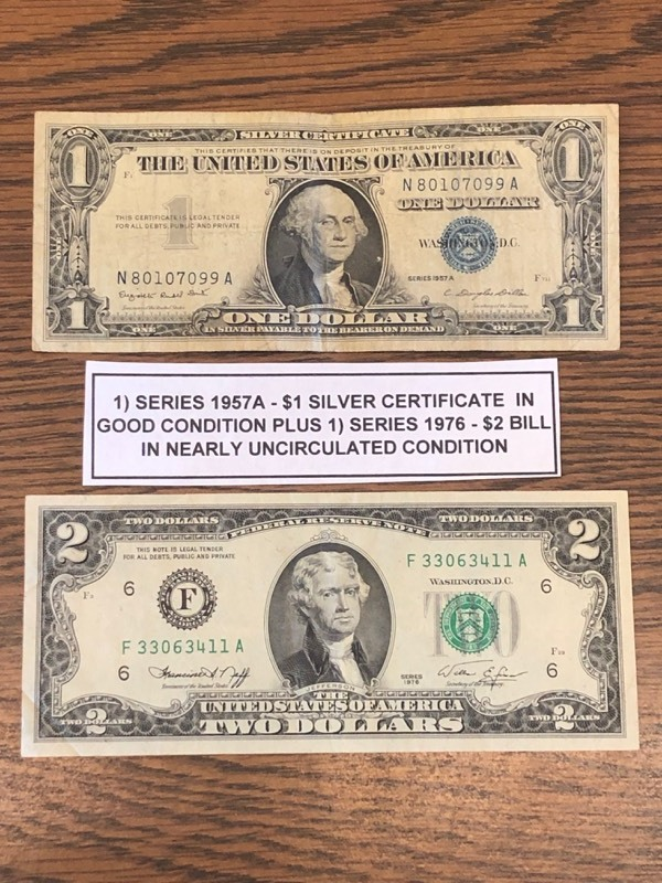 Series 1957a 1 Silver Certificate 1976 2 Bill February Coins
