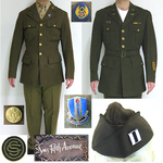 WWII NAMED US ARMY AIR CORPS OFFICERS UNIFORM ITEMS WITH ORIGINAL PATCHES AND PINS