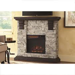 Home Decorators Collection Highland 40 in. Media Console Electric Fireplace TV Stand in Faux Stone Gray in like new condition
