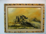 Original Vintage Signed Western Stagecoach Oil Painting - CECIL R. YOUNG JR