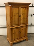 Two-Piece Wooden Entertainment Center / Cabinet