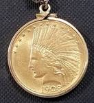 1908 US $10 GOLD INDIAN IN BEZEL