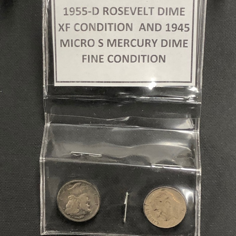1955-D Roosevelt Dime & 1945 Micro-S Mercury Dime | April