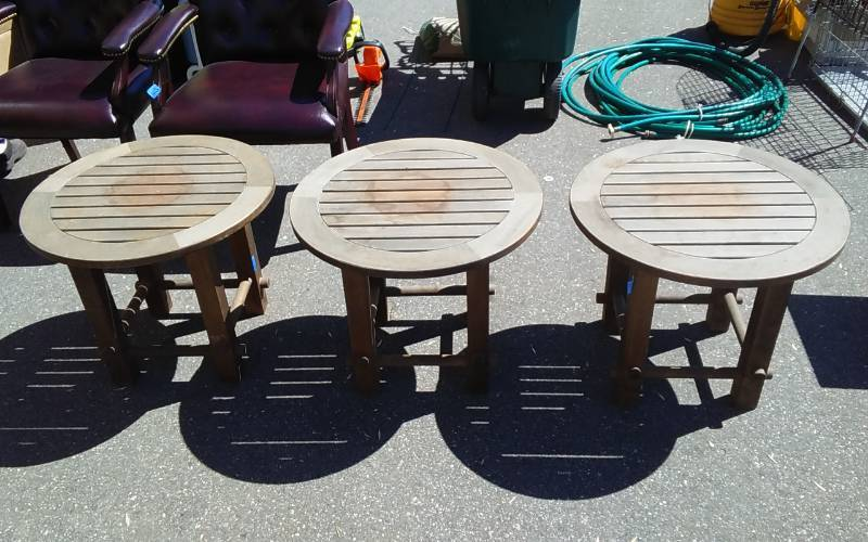3 Round Teak Wood Patio Side Tables 24 Inch Diameter X 20
