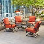 Hampton Bay Redwood Valley 5-Piece Metal Patio Fire Pit Seating Set with Quarry Red Cushions in good conditions