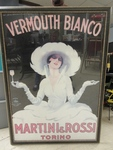 FRAMED ART DECO MARTINI & ROSSI POSTER