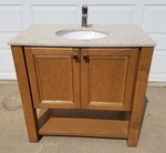 Solid Maple Free Standing Vanity and Quartz Top & Sink