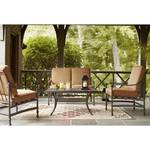 Hampton Bay Niles Park 4-Piece Patio Deep Seating Set with Cashew Cushions in good conditions