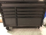 Husky Industrial 52 in. 9-Drawer Cabinet Tool Chest in Textured Black used in working conditions whit scratches and door need help to close in open