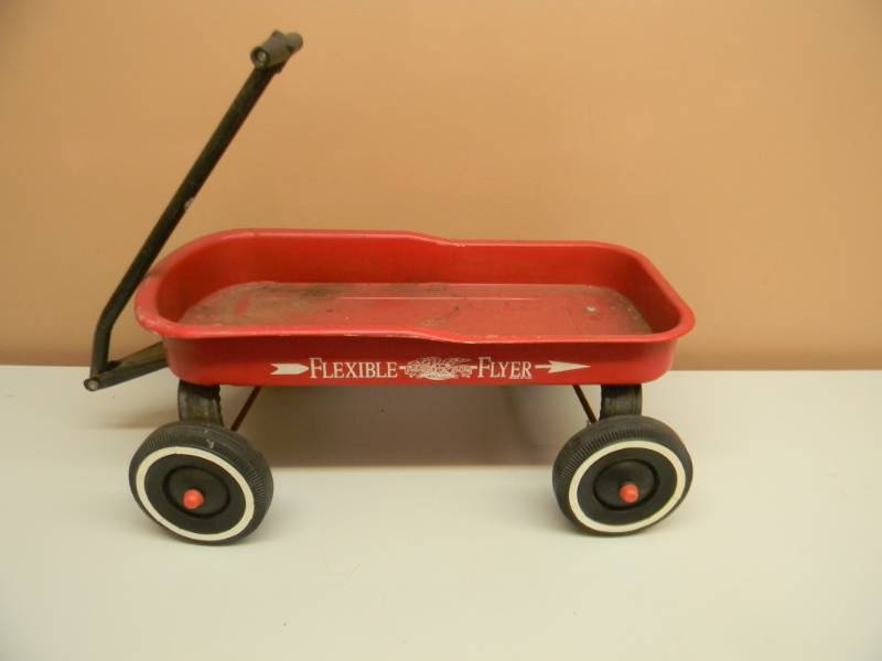 Antique Flexible Flyer Red Wagon With