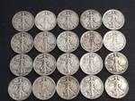 GROUP OF 20 WALKING LIBERTY SILVER HALF DOLLARS