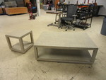 WOVEN FABRIC COVERED COFFEE TABLE AND END TABLE