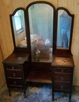 Vintage Dressing Table & Vanity Combo with Triffold Mirror