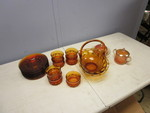 AMBER GLASS AND CARNIVAL GLASS DISHWARE