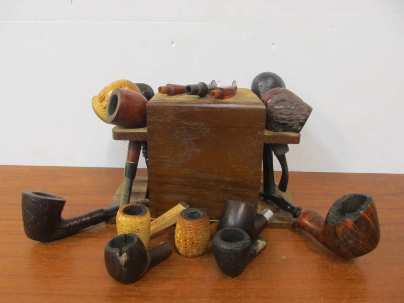 Estate Lot of Vintage Smoking Pipes w/Stand | Little Canada