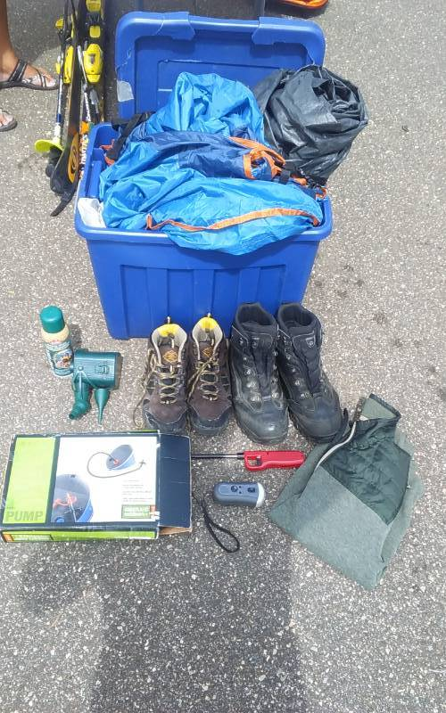 Lot Of Camping Supplies: Hiking Boots, Air Pump, Eddie Bauer