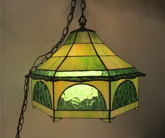 Nice Old Vintage Mid Century Stained Green Glass Hanging