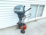 Vintage Evinrude Aquasonic 7.5 Hp Boat Motor on Stand with Gas Can