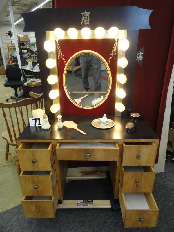 1950's Custom Made Chinese Oriental Makeup Vanity with Mirror and
