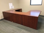 5-Piece Wood Executive Office Desk, Round-End Conference Desk, File Cabinet Desk Extension, Overhead Cabinets