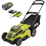 Ryobi RY40180-Y 20? 40-Volt Lithium-Ion Cordless Battery Walk Behind Lawn Mower  in good condition