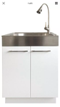 Presenza Laundry Cabinet Storage Utility Sink All-in-One 2 Door With Faucet Has minor damage needs to be clean but was not used missing handles Stock photo used to display item only
