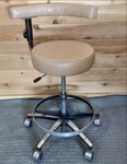 Super Nice Vintage Del-Tube Adjustable Height Seat & Footrest Dental Stool Chair with Procedure Arm - Great Condition!