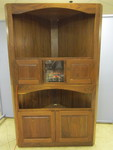 SOLID WOOD CORNER MEDIA CABINET WITH FIREPLACE