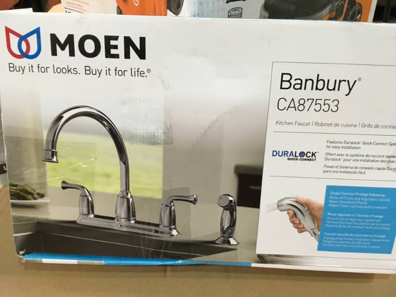 Moen Banbury 2 Handle Mid Arc Standard Kitchen Faucet With Side Sprayer In Chrome In Good Condition Kx Real Deals St Paul Tools Fans Lightning Outdoor And More K Bid
