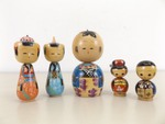 Lot of 5 Vintage Hand Painted Asian Kokeshi Dolls