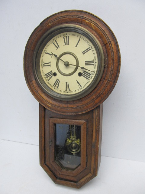 Antique Regulator Wall Clock W Pendulum