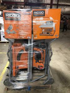 Pallet of assorted Ridgid Tools Miter Saw, Compressors, Blower, Table saw, Belt Spindle Sanderand and more all custumer returns RETAIL VALUE OVER $3000
