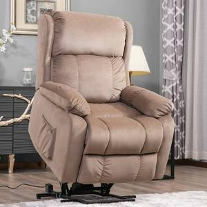 Beige Soft Fabric Upholstery Power Lift Chair with Remote in good conditions