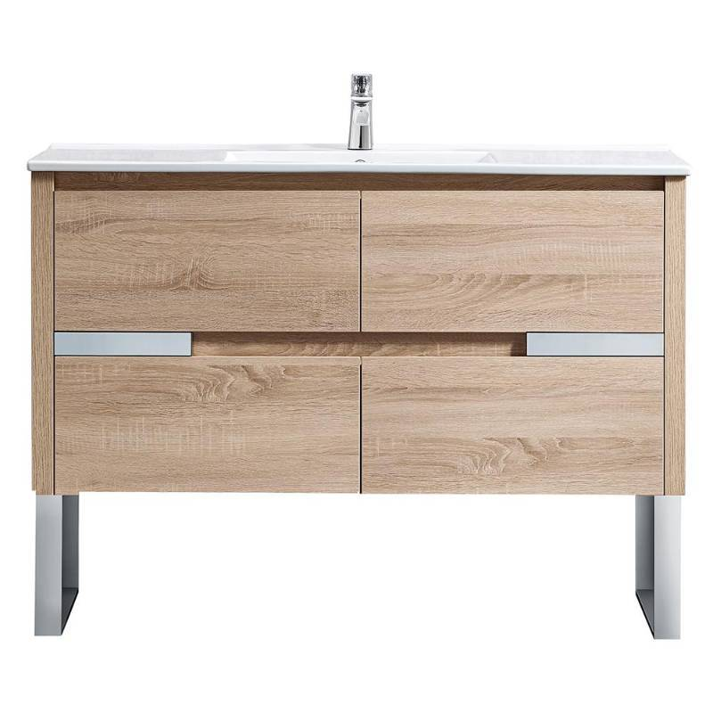 Home Decorators Collection Lennard 48 In W X 18 In D Vanity In Natural Wood With Ceramic Vanity Top In White With White Sink Not Used Retail 1000 Kx Real